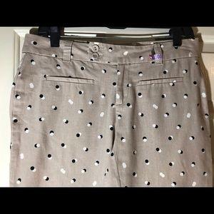 LOFT Pants - Ann Taylor LOFT khaki polka-dot capris